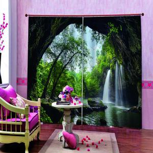 Luxus Individuelle Blackout 3D-Fenster-Vorhang-Wasserfall Landschaft Vorhänge für Wohnzimmer Schlafzimmer Blackout Home Decor Sets