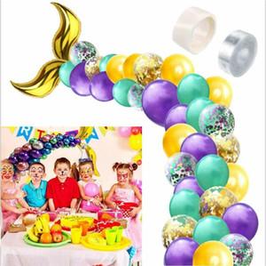 Mermaid Tail Arch Shape Balloon Multicolor Confetti Matel Balloon Wedding Ballons Birthday Party Decoration Baby Shower Supplies