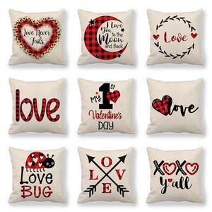 123 Designs Valentines Pillows Case Valentine's Day Letter Printing Heart Pillow Cover 45*45cm Sofa Nap Cushion Covers Home Decoration