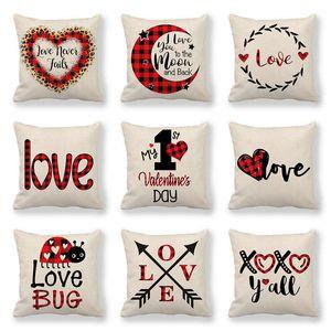 123 modèles Lettre jour de la Saint-Valentin cas Oreillers Valentine impression coeur Taie d'oreiller 45 * 45cm Canapé-Nap housses de coussin Décoration
