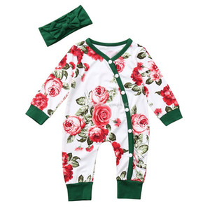 Новорожденные девочки комплект одежды 2 шт. Цветы печати ползунки + оголовье дети зимняя одежда малыш девушка одежда roupas menin
