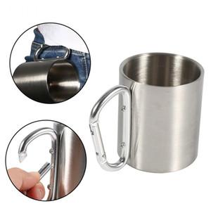 330 ML de Metal Em Aço Inoxidável Camping Cups Viajar Copo Ao Ar Livre Caneca de Parede Dupla Com Mosquetão Gancho Lidar Com Caneca de Café Xícara De Chá