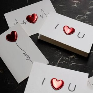 Regalo Invito Semplice cuoio della carta bianca 3D Hearts Capodanno Valentine Red Party Gift Box Paper Bag Grazie 5pcs You Card / 10pcs