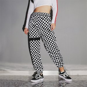 Plaid Womens Hiphop Pants Loose Designer Womens Pencil Pants Casual Stretch Streetstyle Female Trousers
