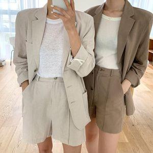 YOCALOR 2020 estabelece novas mulheres de verão 2 peças de correspondência calças perna larga Curto Casual algodão e linho Pockets Lady Suit WS9312