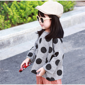 Newest INS Kids Girls Tshirts Linen Cotton Great Quality Polka Dot Designer Child Tees Children Bountique Clothes Autumn Unisex Clothing