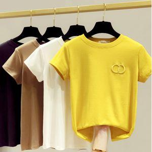GGRIGHT 2020 Новых высокой качество вышивка футболка Женщина Плюс Размер повседневной хлопок O-образный вырез футболка женские белые топов Harajuku T200614