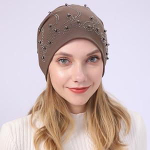 Perla Gorros Sparsil hombres de las mujeres del algodón del casquillo del sombrero del turbante musulmán pelo de Headwear de la muchacha del invierno Doble Capa otoño acumulan Caps chica