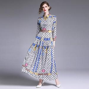 Donna Autunno manica lunga Stampa Vintage Party Dress Lady Elegante monopetto Turn Down Collar Shirt Abiti Vestidos DD77433