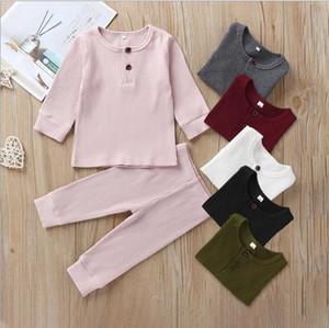 الطفل الاطفال النوم والملابس مجموعات الصلبة اللون طويل الأكمام O- عنق القميص + السراويل والملابس مجموعات 100٪ قطن 2 قطعة مجموعات النوم الملابس 3 شركة