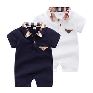 Ins Mode Burb Marke Kleidung Baby Plaid Strampler Bodysuit Outfit Baumwolle Neugeborenen Sommer Kurzarm Romper Kids Designer Infant Overall
