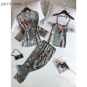 JULY'S SONG pyjamas de printemps femme ensemble Sling 3 pièces satin fausse soie impression sommeil salon pantalon long femme pyjama pyjamas