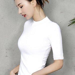 95% Хлопок Женщины футболку O-образным вырезом с коротким рукавом рубашки женщин Все матча леди Top Черный Белый Серый Желтый Шир T200110