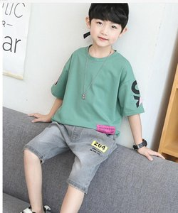 2020 Fashionable children's clothing suit baby jeans summer baby boy casual T-shirt shorts suit short sleeve
