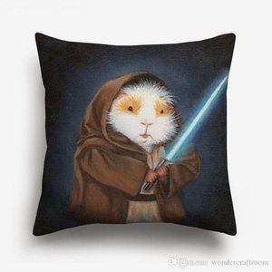 Guinea Pig In Costumes Art Cushion Covers European Retro Style Oil Paintings Animal cavy Cosplay Cushion Cover Linen Cotton Pillow Case