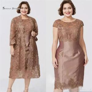 Robes à manches courtes à manches courtes chic avec veste The Longueur Mère de la mariée Robe Custom Custom
