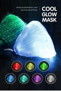 IK001 LED Luminous Mask With USB Charge Masks 7 Colors Luminous Flashing Mask Anti-Dust Mask Dance DJ Music Party Supplies Free shipping