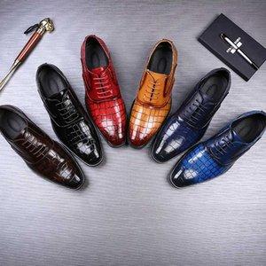 Sıcak Merkmak Sivri Burun Erkekler Günlük Ayakkabılar Moda Timsah Desen İş Deri Ayakkabı Parti Düğün Ayakkabı En İyi Hediye Büyük Boyut