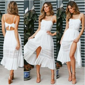 Women Clothing Summer Lace Dress Female Hollow Out White Dress Loose Casual Sexy Party Women Dress Plus Size
