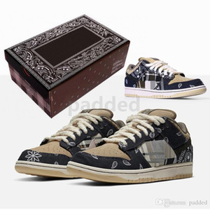 2020 Nova Travis Scotts x SB Dunk Low Running Shoes Mens Cactus Jack Skate Trainers Designer Casual Sneakers Com Box 40-45