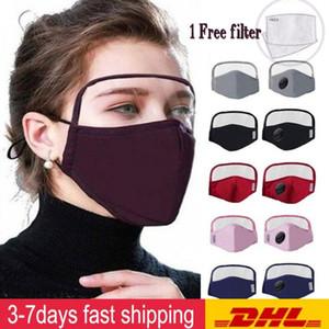 Navire rapide 2 en 1 Masque coton avec un masque facial Protection Yeux Sheild PARFAITEMENT unisexe anti-poussière coupe-vent Hommes Femmes Masque de protection FY907