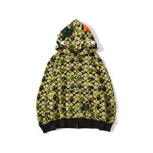 Camo verde dos desenhos animados Imprimir Cardigan revestimento encapuçado Adolescente Zipper Cardigan Hip Hop revestimento encapuçado de New Men Outono Inverno