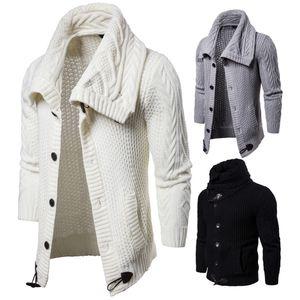 Мужских куртки вязания сплошного цвета свитер пальто кардиган отворот Хорн пряжка ретро Keep Warm Моды Верхней одежда Куртка M-2XL