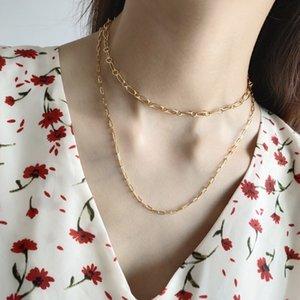 Or Carré Ovale Collier réel 925 Couleur Sterling Sivler Or Collier Choker Mental Mode Femmes 925 Bijoux en argent