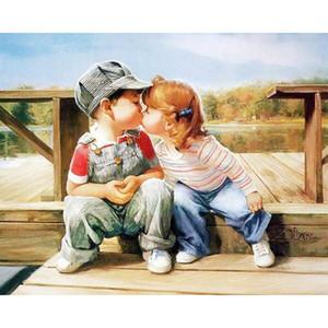 Pittura diy dai numeri Bambini Baciare Bambino puro dipinti a mano su disegno di Numbers acrilico della decorazione della casa a muro Poster 40x50cm