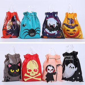 Halloween Candy Drawstring Plastic Bag 50PCS lot Bat Spider Witch Ghost Pumpkin Printed Candy Storage Bag DHB514