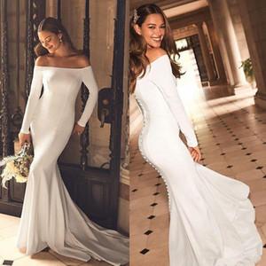 Nova chegada mangas compridas Sereia vestidos de casamento 2020 Bateau Neck Botões Voltar Sweep Trem nupcial Dresses China