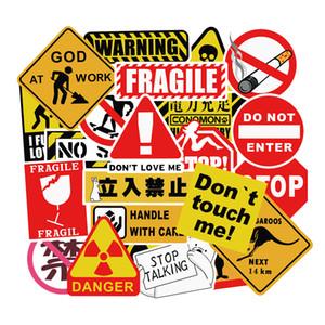 50pcs lotto Warning Sign Moda impermeabile in PVC removibile Adesivi Laptop Skateboard chitarra Deposito cassa dell'automobile Moto Bike Graffiti Adesivi