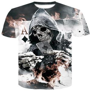 Мужская футболка 3D печать футболки Мужской с коротким рукавом 2018 Лето череп покер рубашка человек повседневная дышащая летняя футболка топы