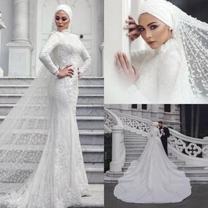 2019 Vestidos de casamento muçulmanos modernos Sereia Lace Manga comprida Gola alta Arábia Saudita Vestido de noiva com véus Hijab Custom Made