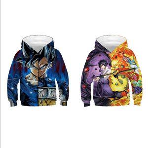 New Naruto DBZ Printed Girls Boys Hoodies Unisex Kids Hooded Sweatshirt Children Casual Loose Tops 3D Baseball Hoodie Jackets Coats