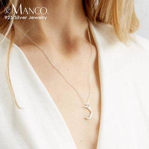e-Manco Elegante Colar lua pingente por Mulheres 925 Declaração Sterling Silver Colares Cadeia Fine Jewelry para as mulheres