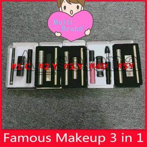 Makyaj Seti çoklu marka makyaj Ruj Maskara Siyah Maskara 3'te 1 makyaj setleri Eyeliner Kozmetik Takımı ücretsiz gönderim