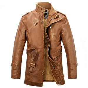 Mens-beiläufige Winter-Vlies-Jacken-Mantel-langer Abschnitt aus Kunstpelz Warm PU-Leder-Jacken-Mantel-Graben männlichen Mantel 4XL