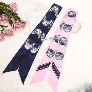 Autumn Cat Head Printing Silk Scarf Imitation Silk Joker Tie Bag Handle Small Ribbon Scarf Scarf