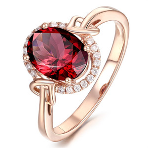 R436 New Fashion ROSE Gold Rings For Women Full Zircon red Opal Ring Wedding Gifts female