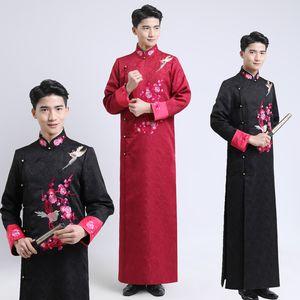 pied traditionnel collier hommes vêtements ethniques de mariage Epoux brodé ancien mâle cheongsam chinois Vestidos longue robe