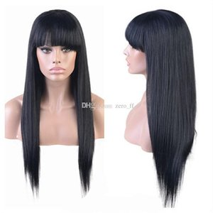 Long Silky Straight Full Lace Wig Peruvian Glueless Human Hair Lace Front Wig With Full Bangs Natural Hairline For Black Women