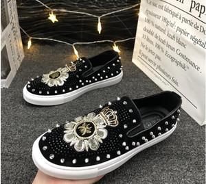Новые одуванчики шипы плоские кожаные ботинки горный хрусталь мода мужская вышивка лоуфель платье обувь курение тапочки повседневная алмазная обувь