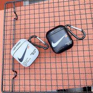 Carabiner ile TWS Airpods Bluetooth Kulaklık Baskılı mektup Beyaz Mat Depolama Kılıfı Bag için spor Buzlu Tam Koruyucu Kabuk