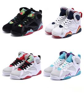 Дети кроссовки 7 Basetball обувь для девочек и мальчиков дышащая резиновая сетка дети спортивная баскетбольная обувь размер: 28-35
