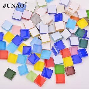 JUNAO 10mm Mix Color Square Glass Mosaic Stones Glass Mosaic Tiles Glass Pebbles DIY Arts Crafts Material Mosaic Making 30pcs
