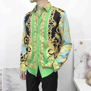 2020 Hommes imprimé floral Couleur Mélange de luxe Chemises Harajuku Long Méduse homme Chemises imprimé tigre chemise pour les hommes imprimés
