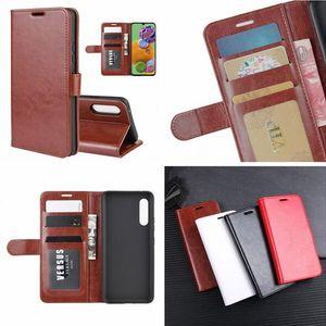 Crazy Horse portefeuille en cuir pour Samsung Galaxy A90 5G M30S Xiaomi redmi NOTE 8 R64 Mad photo de carte d'identité stand argent peau de couverture de luxe 50pcs