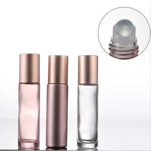 Essencial usar óleo 10ml garrafas de rolo Rosa Roll On Vidro Com pedra preciosa de cristal Roller Ball Cap de Ouro Rose E