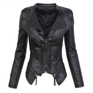Além disso casaco outwear tamanho jaquetas de couro 3xl mulheres 2019 outono inverno moda motocicleta gola mandarim pu jaquetas de couro feminina